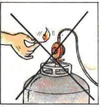 Nunca use fósforos ou qualquer tipo de chama para verificar se há vazamento